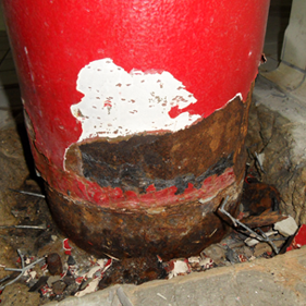 Steel structural corrosion shown on the column