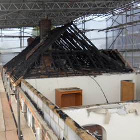 Fire damage to a property roof